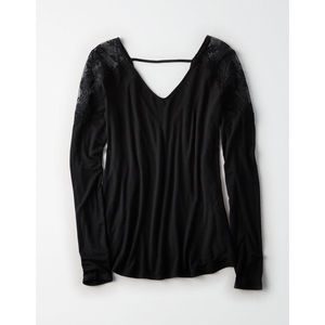 American Eagle - black, lace shoulder, long sleeve
